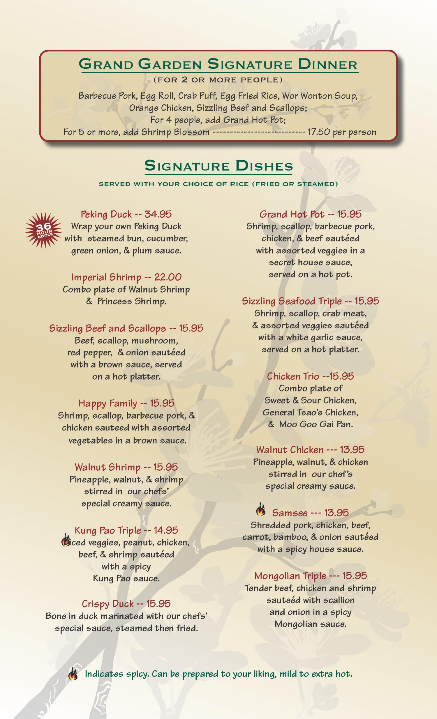 grand garden chinese restaurant menu grand garden chinese cuisine